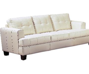 Cream Bonded Leather Causal Sofa w/ Tufted Seat & Back