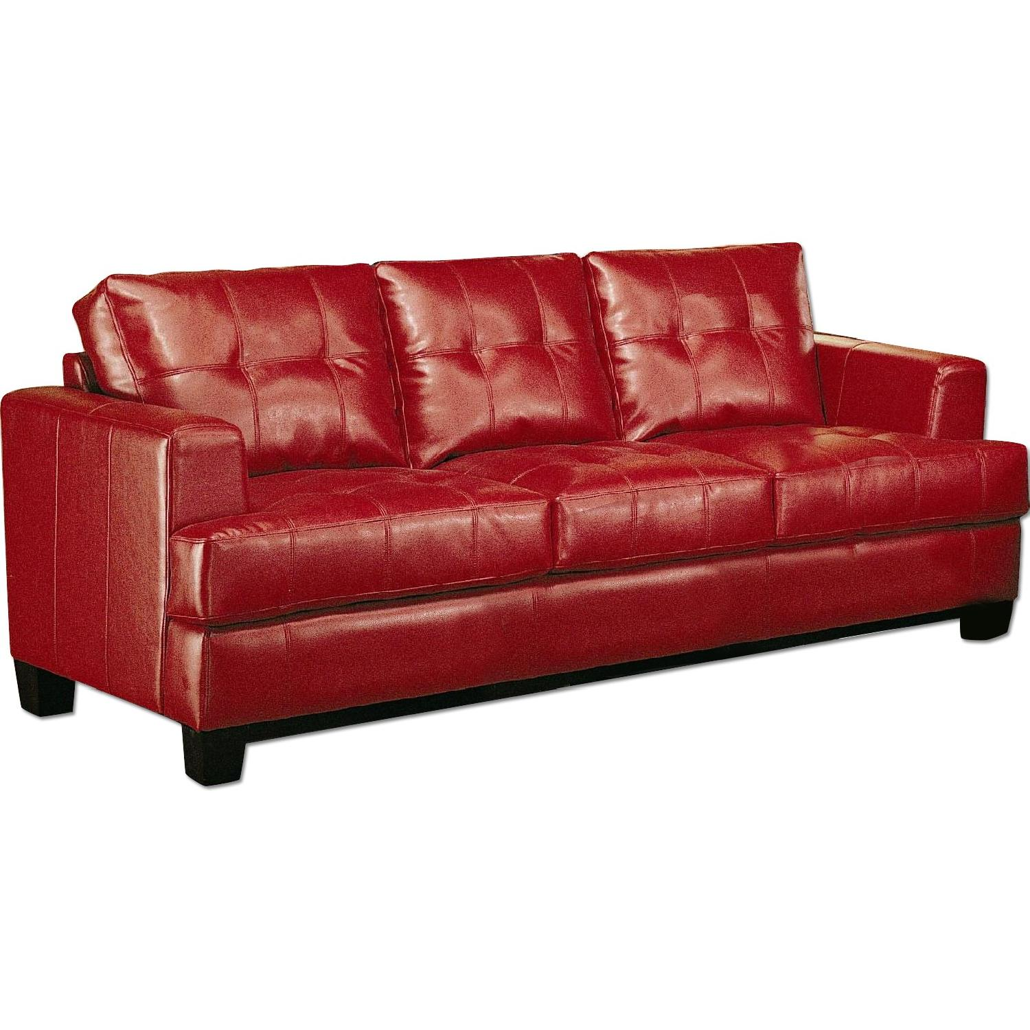 Red Bonded Leather Sofa w/ Tufted Seat & Back
