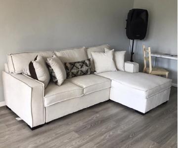 Beige 2-Piece Sleeper Sectional Sofa