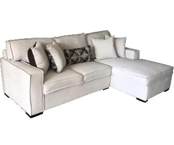 Beige 2-Piece Sleeper Sectional Sofa