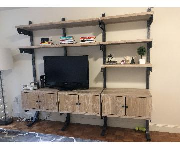 West Elm Wood Shelving Media Wall Unit