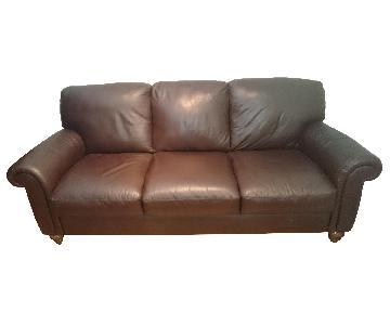 Macy's Chocolate Leather Sofa