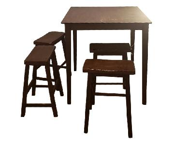 High Wooden Table w/ 4 Stools
