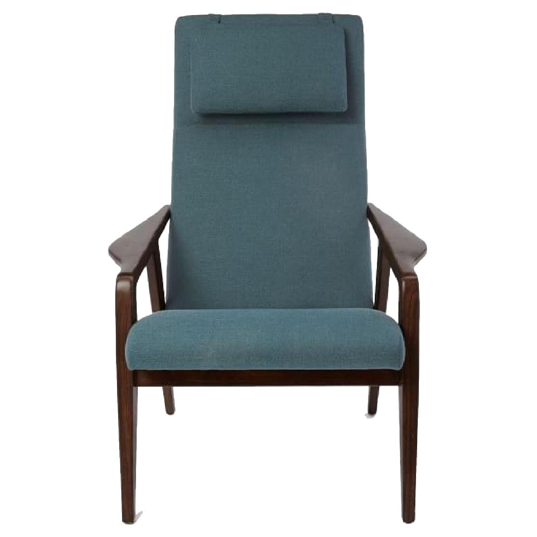 West Elm Contour Mid Century Chair in Slate Blue