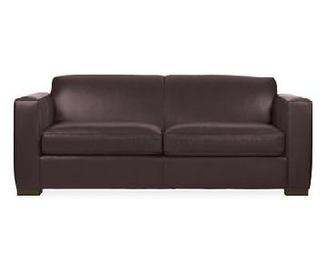 Room & Board Brown Leather Sofa & Ottoman