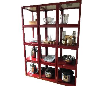 Crate & Barrel Mimic Red Cubes Shelving Unit