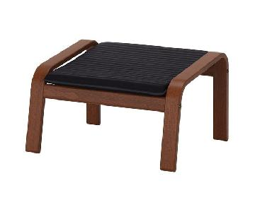 Ikea Black Cushion & Brown Wood Ottoman