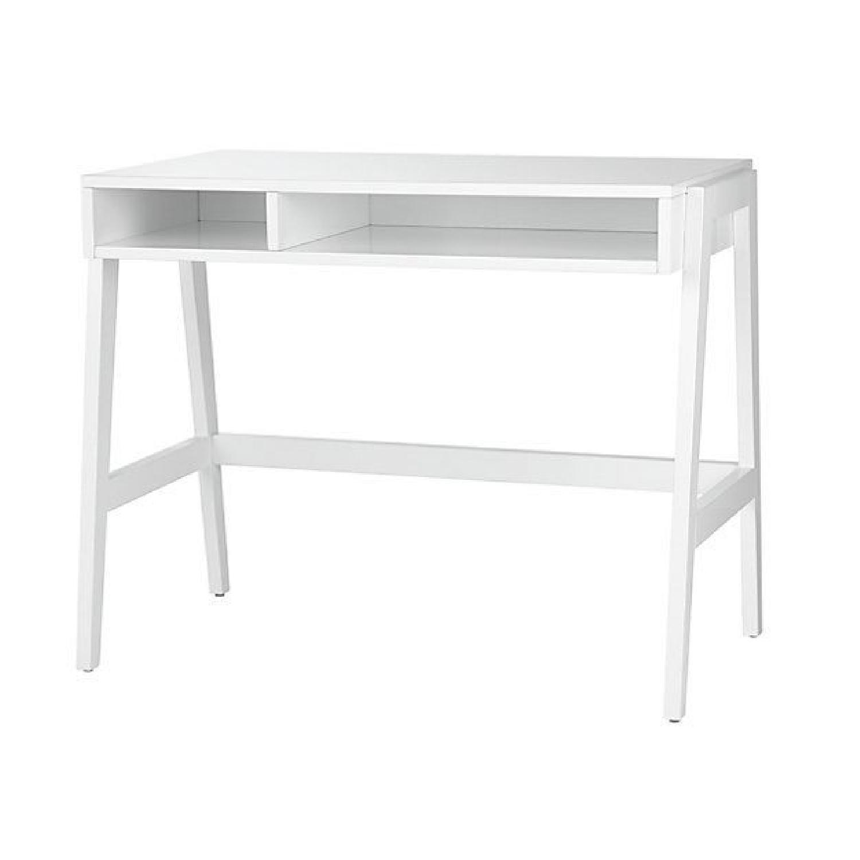 Crate & Barrel Prairie White Lacquer Desk