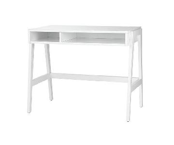 Crate & Barrel Prairie White Lacquer Desk