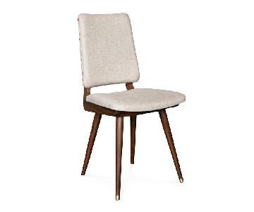 Johnathan Adler Walnut & Tahiti Flax Dining Chairs