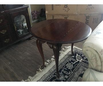Vintage Queen Anne Style Cherry Drop-Leaf End Table
