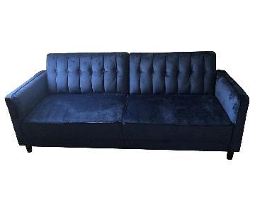Willa Arlo Interiors Blue Velvet Sofa