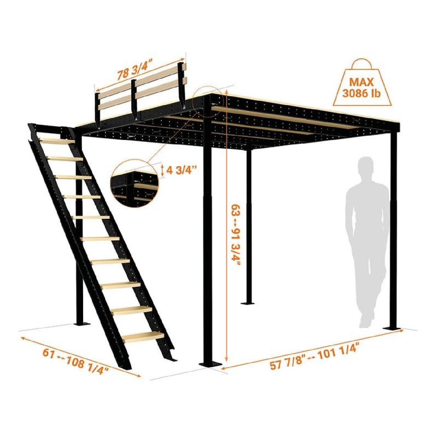 Loft Bed TS 8 w/ Lateral Stairs - image-0
