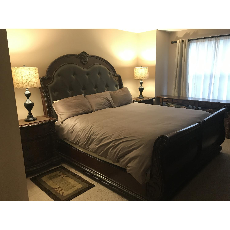 Raymour & Flanigan Wilshire Cherry Wood King Sleigh Bed-0