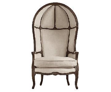 Restoration Hardware Versailles Burlap Chair & Ottoman