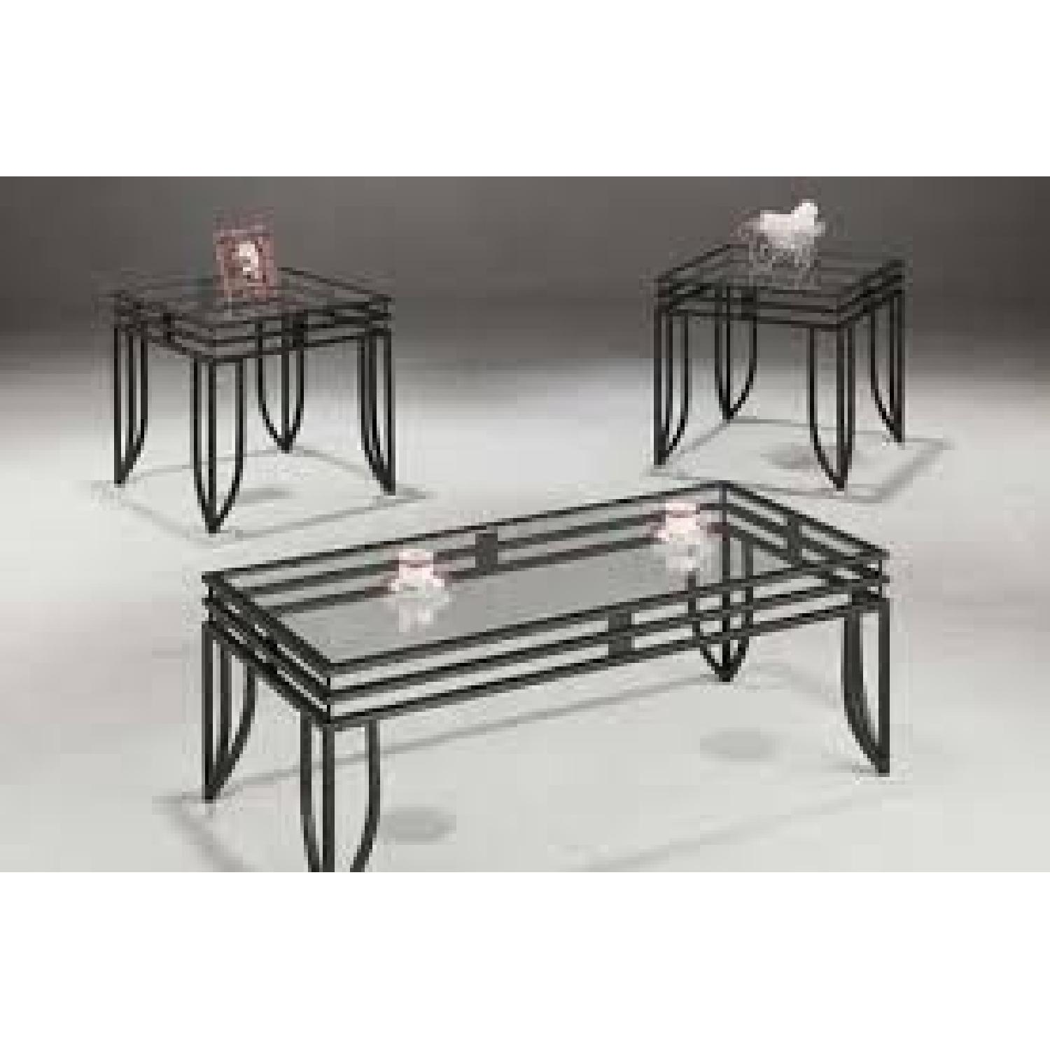 Glass Top w/ Metal Finish Coffee Table + 2 End Tables-1