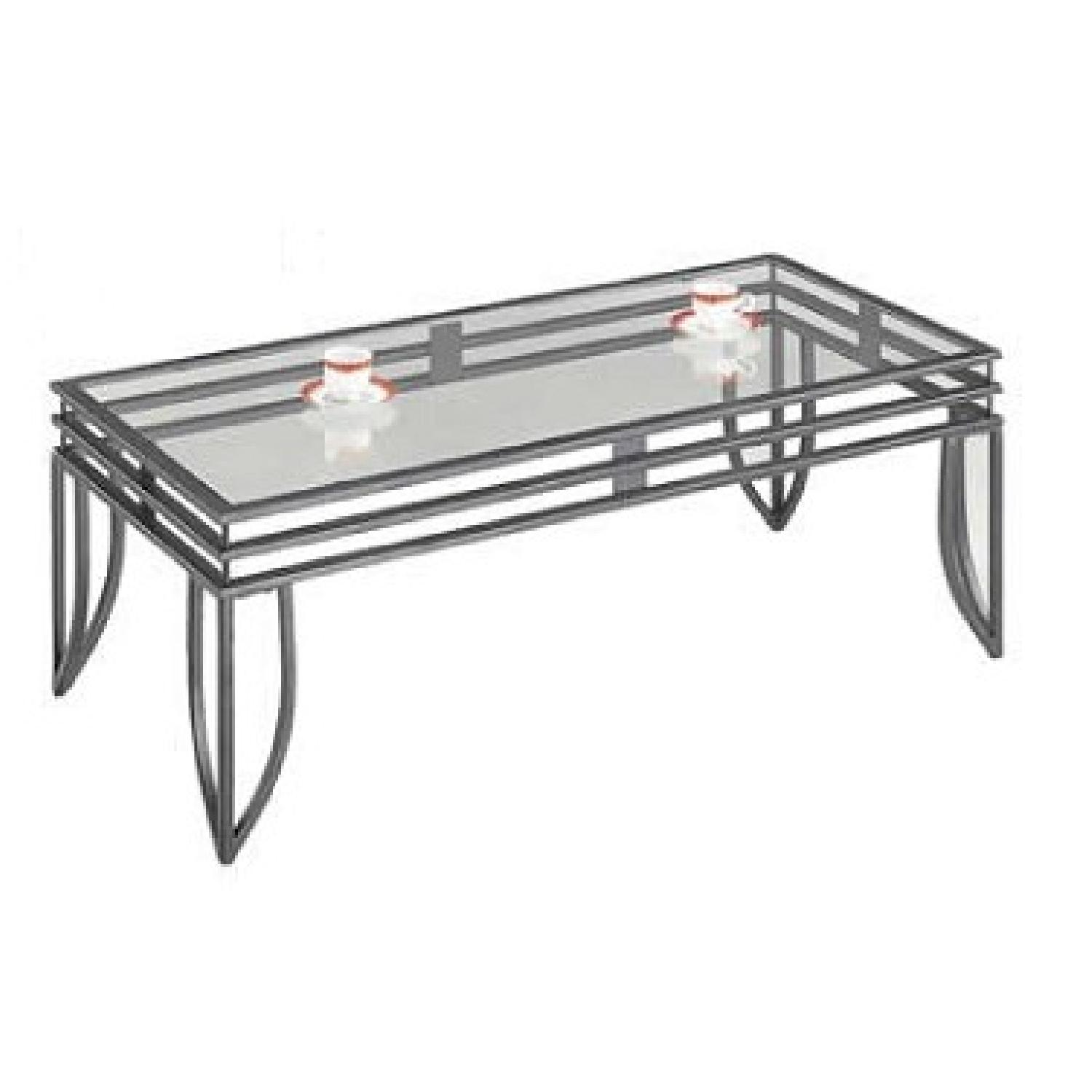 Glass Top w/ Metal Finish Coffee Table + 2 End Tables