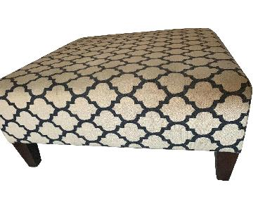 Patterned Ottoman in Ivory/Navy