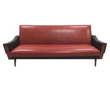 1960s Mid-Century Retro Two Tone Red & Black Vinyl Sofa