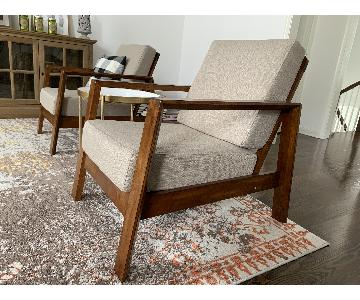 Wood Lounge Chairs w/ Coarse Linen + Accent Table