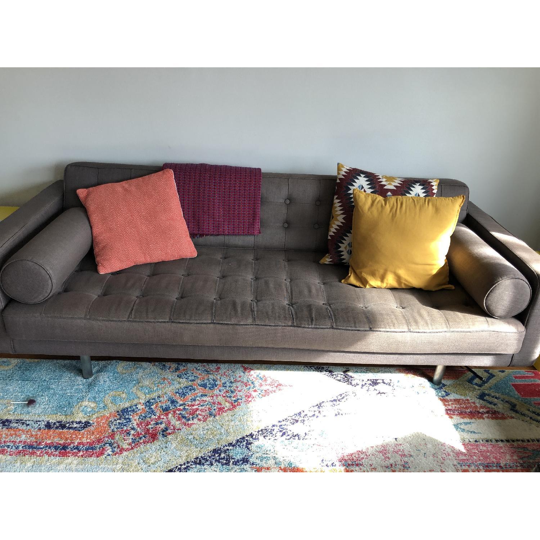 ABC Carpet and Home Tufted Grey Sofa