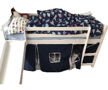 The Land of Nod Twin Loft Bed w/ Slide & Playspace
