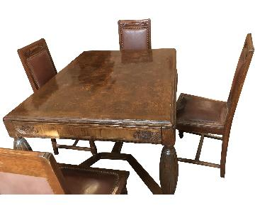 Antique Inlaid Solid Wood Dining Table w/ 6 Chairs