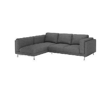 Ikea Nockeby L-Shape Sectional Sofa w/ Grey Cover