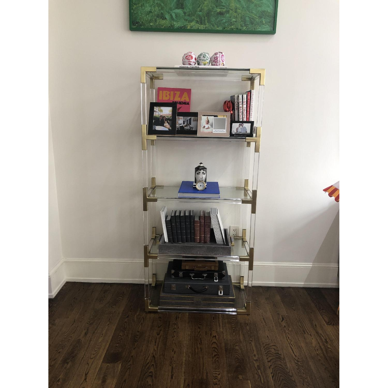 Jonathan Adler Clear Acrylic & Brushed Brass Bookcase-0