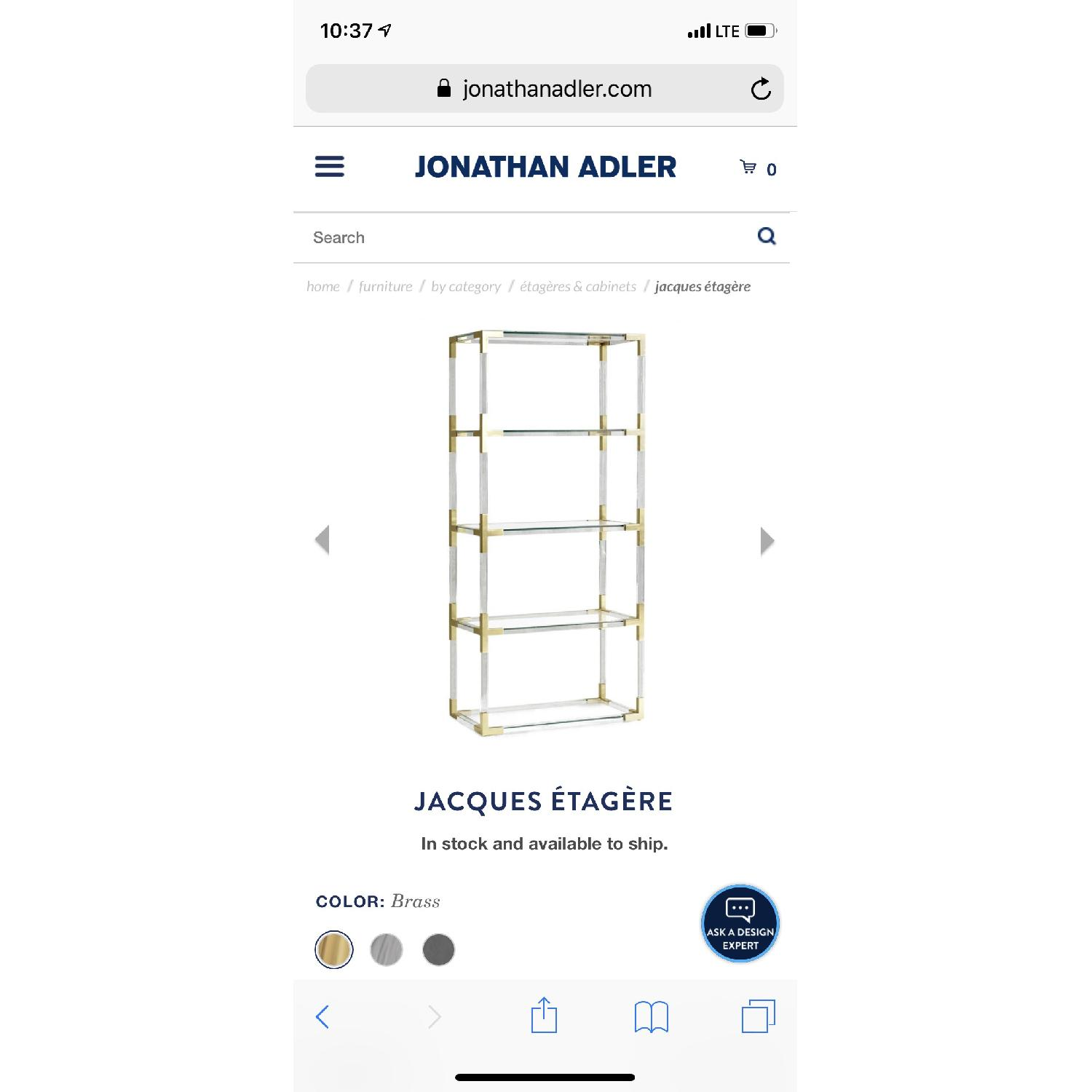 Jonathan Adler Clear Acrylic & Brushed Brass Bookcase-4