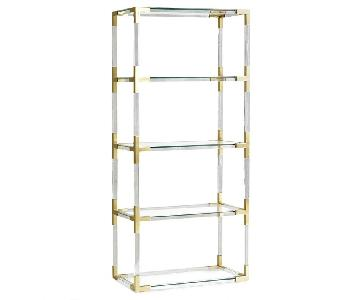 Jonathan Adler Clear Acrylic & Brushed Brass Bookcase
