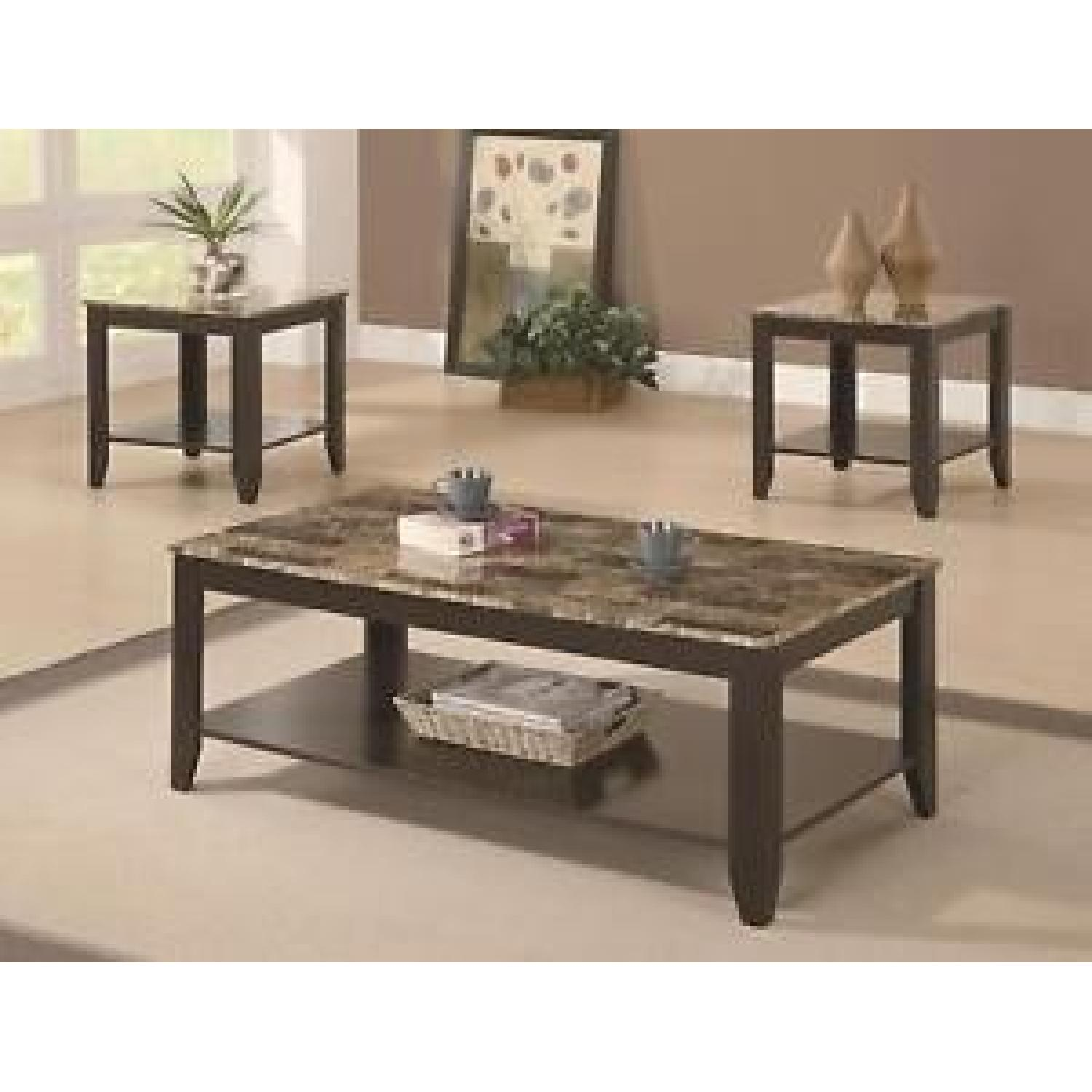 Faux Marble Top Coffee Table + 2 end Tables-1