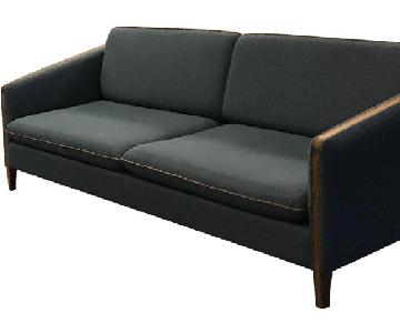 Wood & Denim Mid Century Modern Sofa