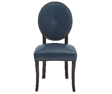 Pier 1 Dark Blue Leather Dining Chairs