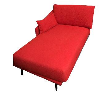 Red Fabric Chaise