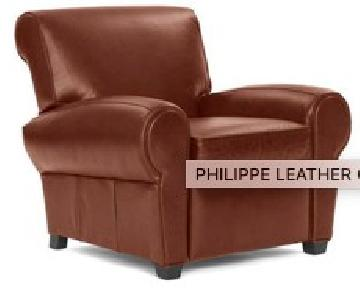 Mitchell Gold Hand-Rubbed Leather Club Chairs w/ Rolled Arms