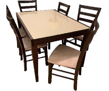 5 Piece Modern Dining Set in Dark Brown