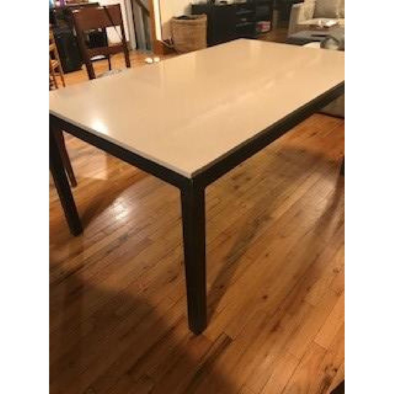 Room & Board Beige Quartz Top/Steel Base Parsons Table/Desk-0