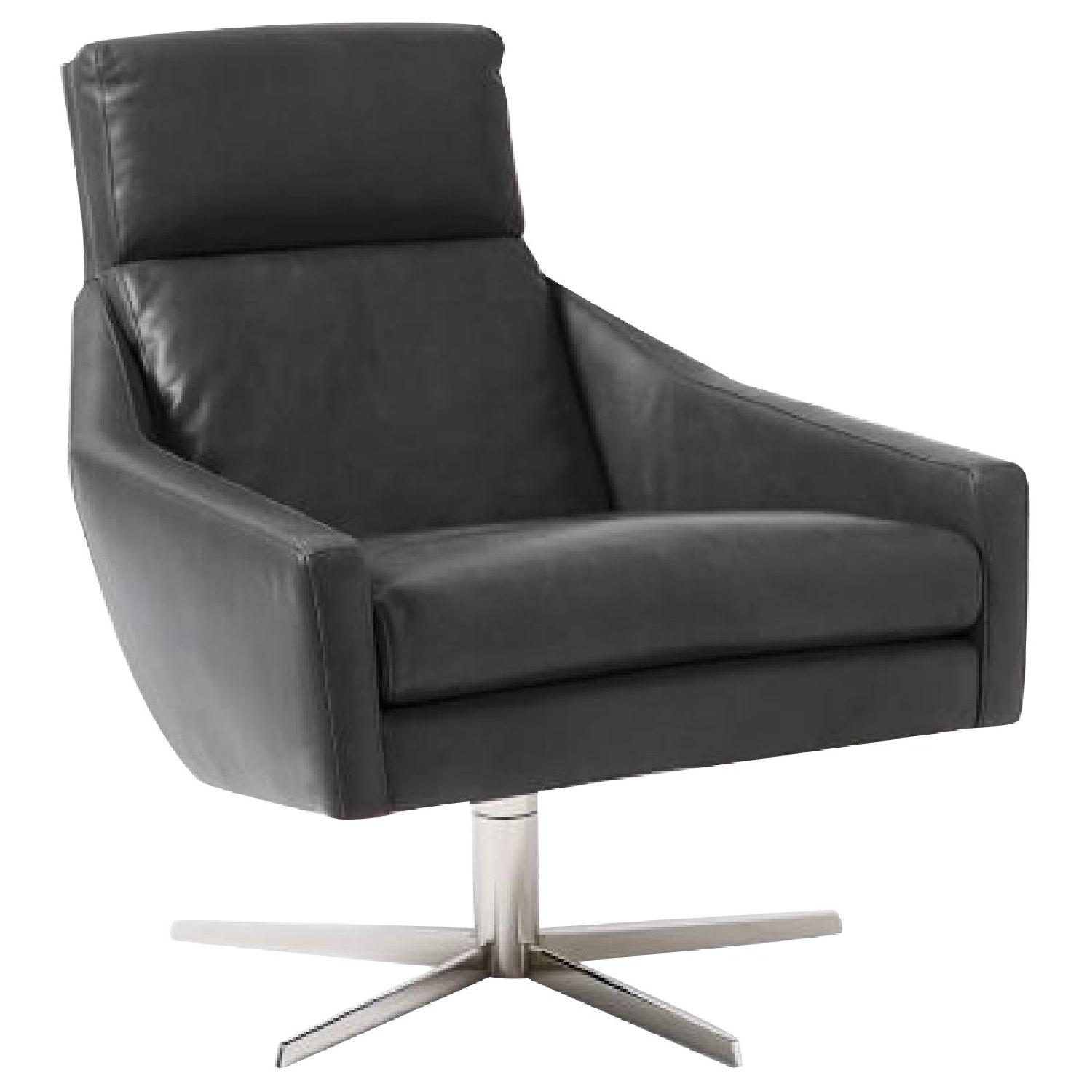 West Elm Austin Leather Swivel Chair & Ottoman in Charcoal