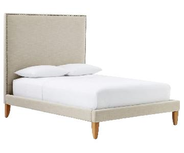 West Elm Tall Nailhead Tapered Leg Bed in Linen Weave