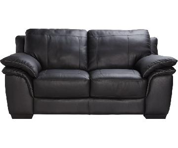 Rooms To Go Black Leather Loveseat