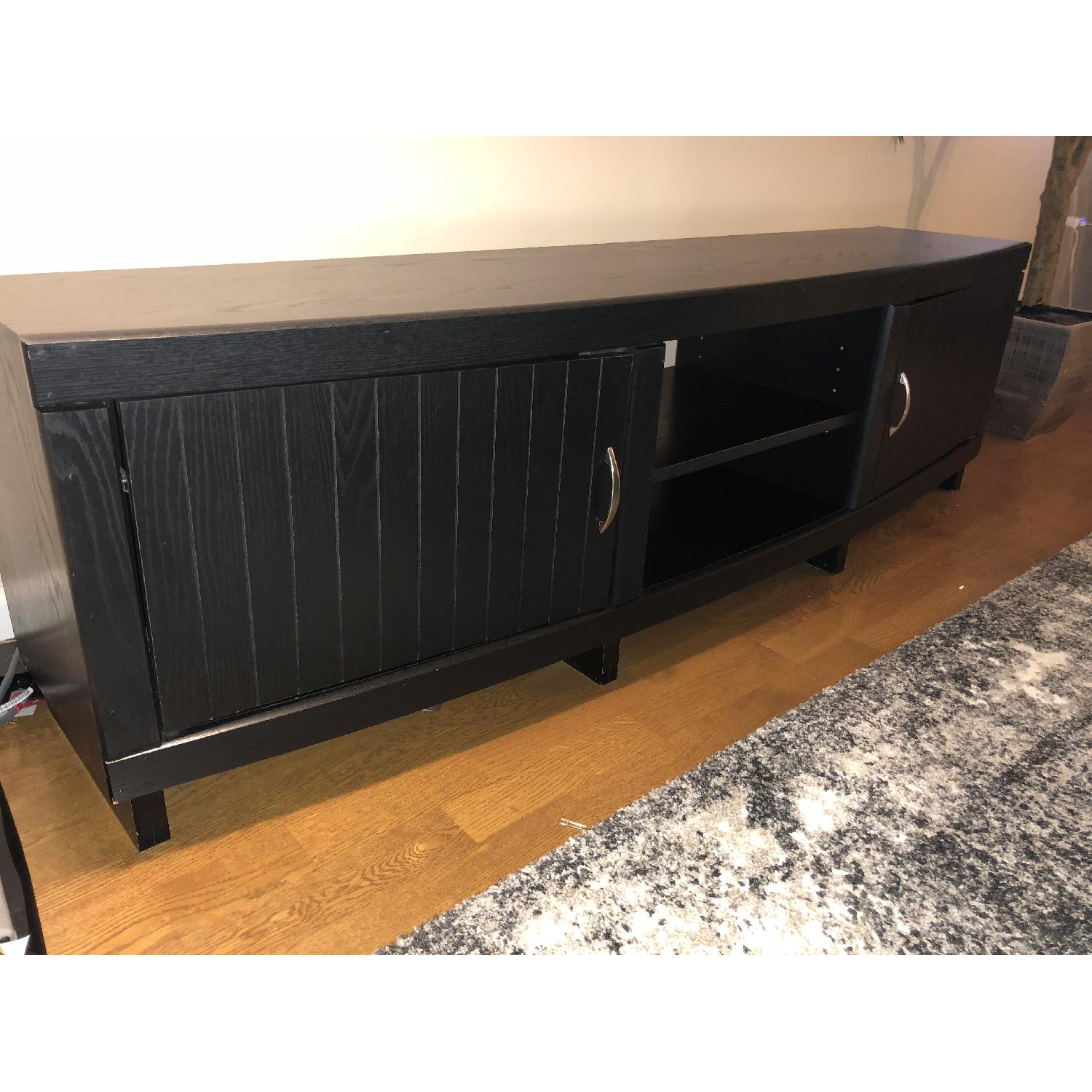 Rooms To Go Black Solid Wood TV Console-3