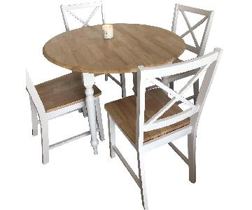 Light Wood & White Dining Table w/ 4 Chairs