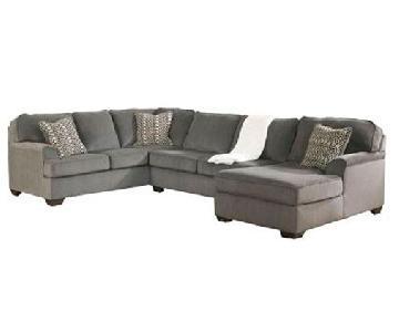 Ashley Grey Chenille 3 Piece Sectional Sofa