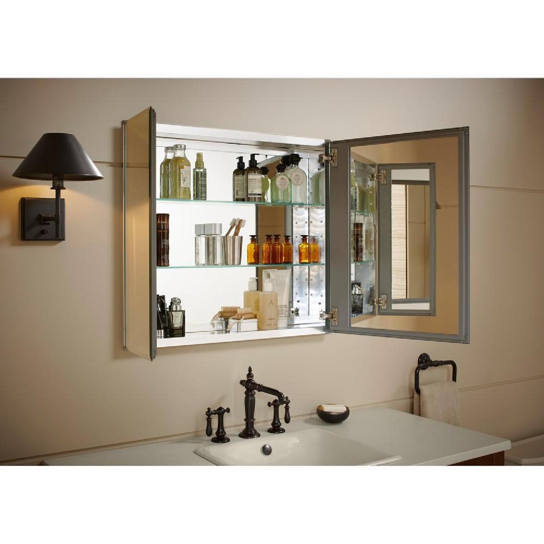 Kohler Aluminum 2-Door Medicine Cabinet w/ Mirrored Doors-2