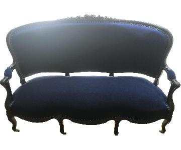 ABC Carpet and Home Antique Settee in Blue Velvet Fabric