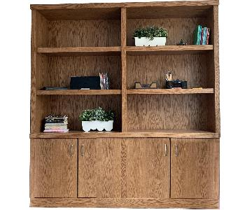 Custom Oak Bookcase w/ Bottom Doors