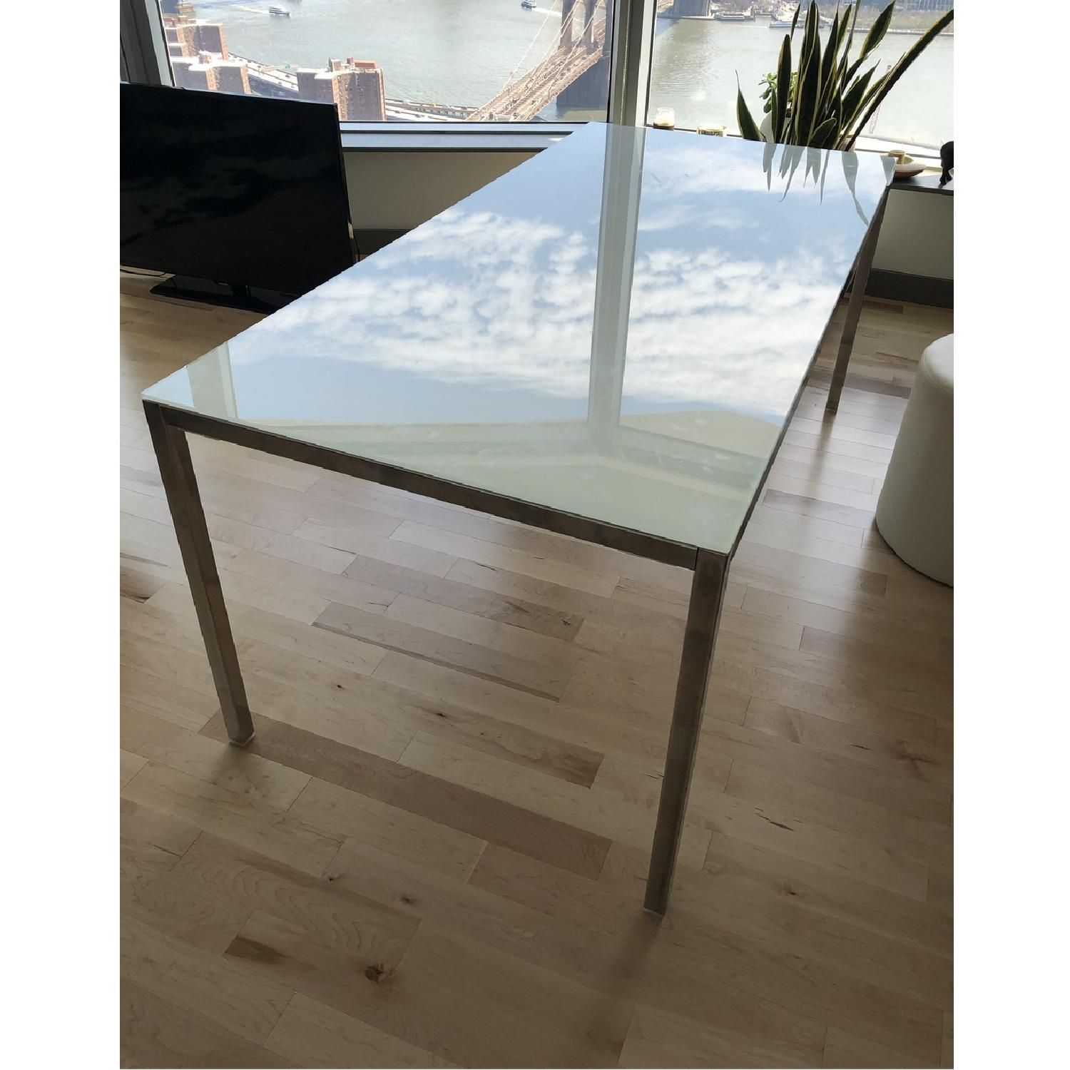 Ikea Torsby White Glass Top Chrome Plated Dining Table-0