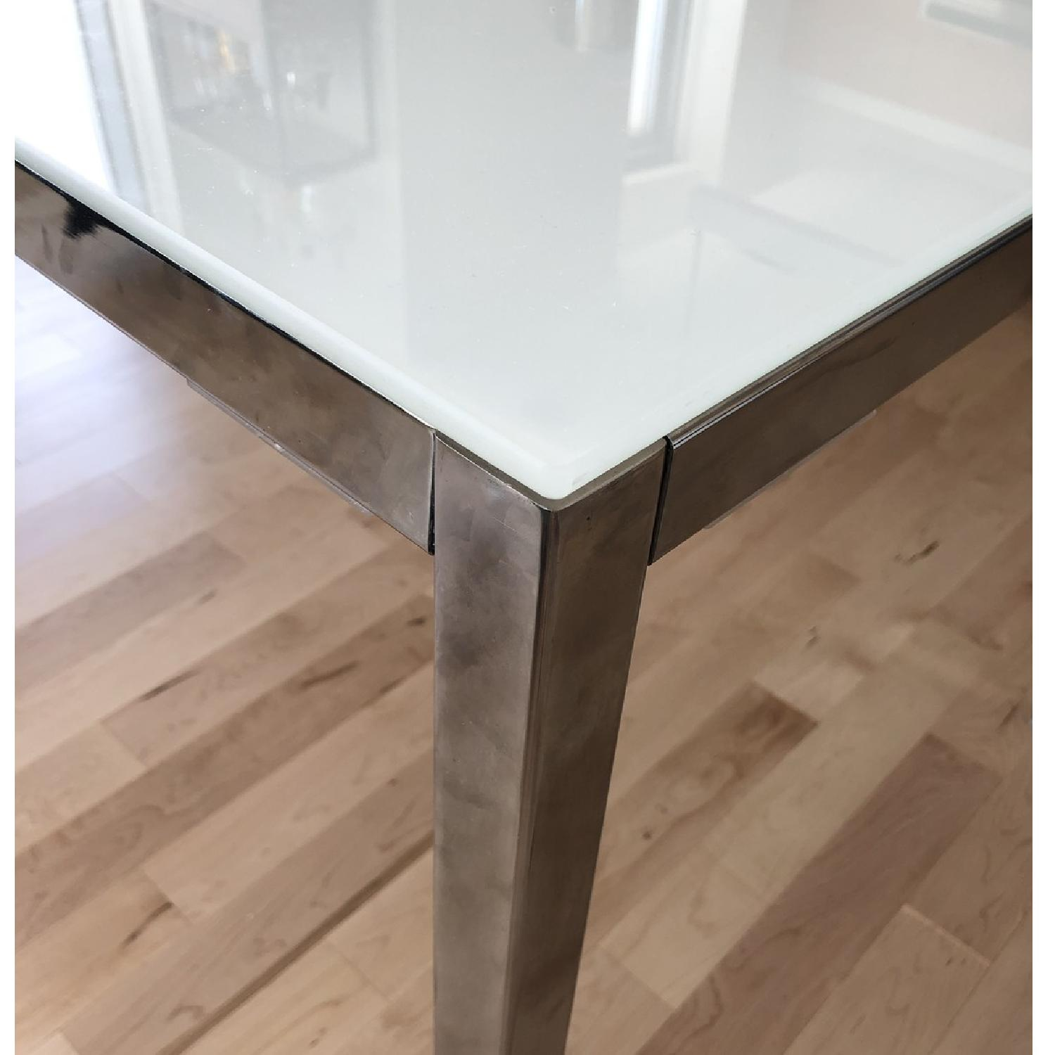 Ikea Torsby White Glass Top Chrome Plated Dining Table-1