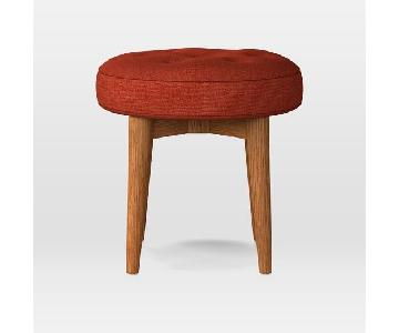 West Elm Mid-Century Stool in Heathered Weave Cayenne